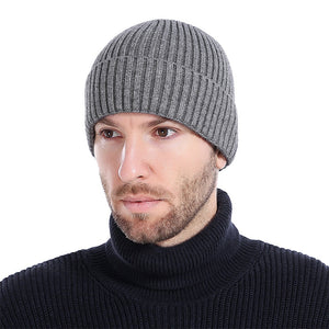 Wo Men's Winter Hats 2017 Fashionable Knit Black Hats Autumn Hats Thick and Warm Hats Skullies Peas Soft Knitted Woolen Cotton
