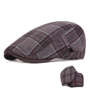 Woolen Men Plaid Winter Hat Vintage Forward Cap Middle-aged Hat Newsboy LU0348