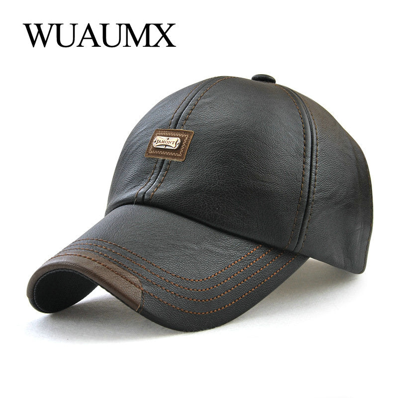 Brand Fall Winter PU Leather Baseball Caps For Men Dad Hat Black Bone Snapback Hip Hop Cap Adjustable Casquette gorras