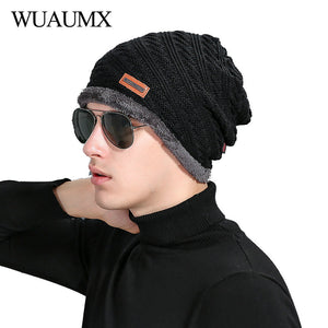 f95971a9c03 Casual Men s Beanies Hat With Velvet Warm Winter Hats For Men Solid Black  Knitted Cap For