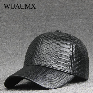 a533821082c Fashion High Quality PU Snake Leather Baseball Caps For Men Women Solid  Black Faux Leather Cap