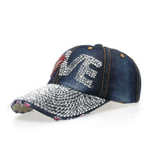 Load image into Gallery viewer, LOVE Rhinestones Sequins Baseball Caps Women Full Eaves Bling Visor Snapback Caps For Female Denim Crystals Cap Retail