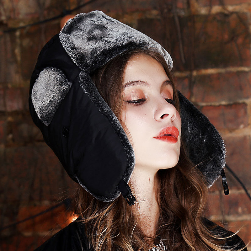 8f602a25e6671 Warm 2018 Autu Snow Ear-Flap Bomber Hats Women s Winter Hat Gorras Para  Mujer Black Russian Hat With Ear Flaps Fur hat