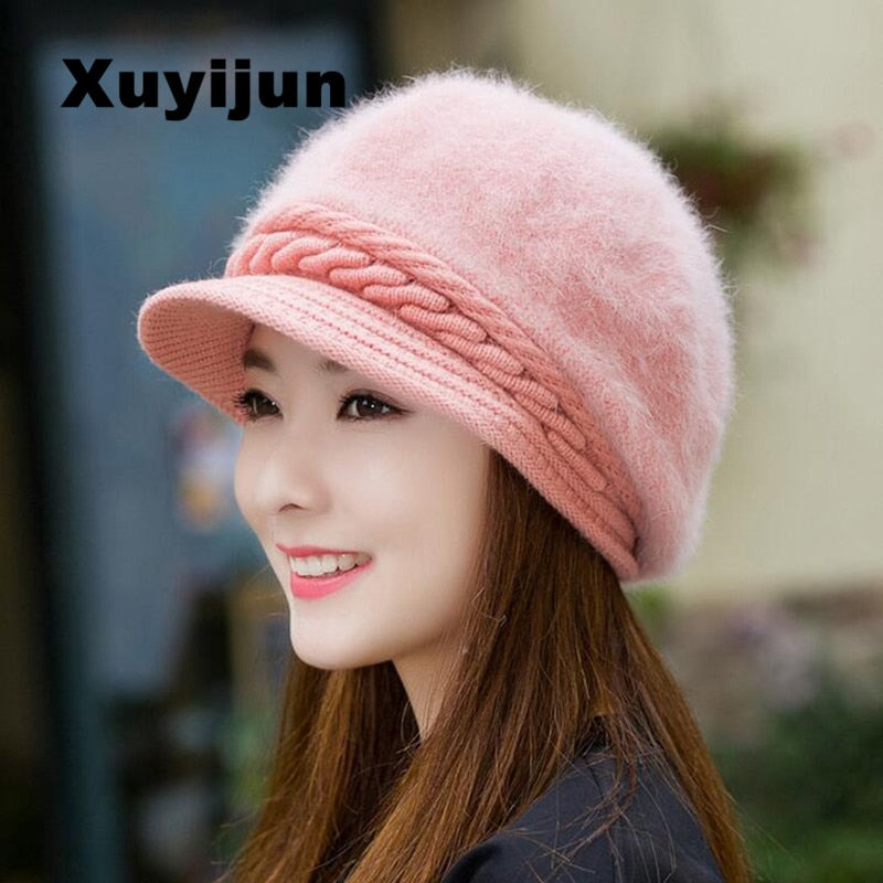 fcf4580a88cb0 Mink and Fox fur ball cap winter hat women hat girl knitted hats skullies  beanies brand new thick female cap