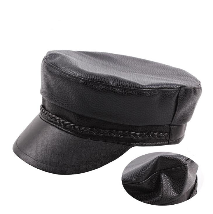 271cc67ac Cow Leather Military Cap Flat Top Army Hat Boys Girls Old Fashion Navy Hats  Black Color For Men Women