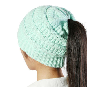 New keep warm Ponytail beanies knitted hat winter hat for women cheap girl 's hat Cotton cap new thick female cap