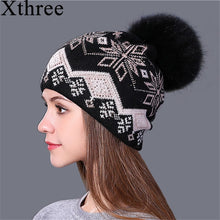 Load image into Gallery viewer, new real mink pom poms Christmas wo rabbit fur knitted hat Skullies winter hat for women girls hat feminino beanies hat