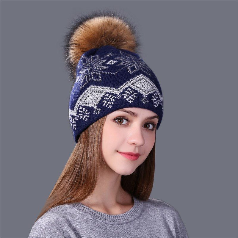 d073423332a new real mink pom poms Christmas wo rabbit fur knitted hat Skullies ...