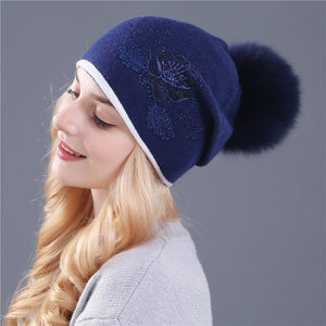 real fox fur pom poms and winter wo knitted hat for women Lace Embroidery flower Skullies hat wholesale