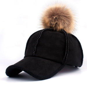 [YARBUU] 2018 good quality brand baseball caps winter cap for women Faux Fur pompom ball Casual Snapback hat cap free shipping