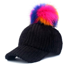 Load image into Gallery viewer, [YARBUU]baseball cap 2017 Solid Color Corduroy Winter Warm Baseball caps for women Faux fur ball cap Leisure Casual Snapback hat