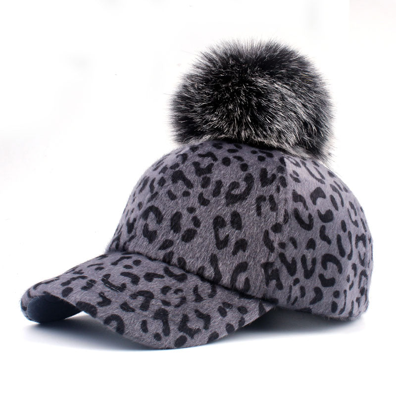 [YARBUU] brand new baseball caps 2018 winter cap for women Faux Fur pompom ball Leopard cap children Casual Snapback hat cap