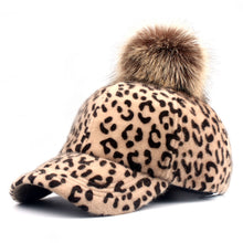 Load image into Gallery viewer, [YARBUU] brand new baseball caps 2018 winter cap for women Faux Fur pompom ball Leopard cap children Casual Snapback hat cap