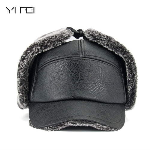 YIFEI 2018 Men Warm PU Leather Dad Hat Fur Bomber Hats Men With Earflaps Outdoor Gorras Casquette Winter Hats Snapback Cap