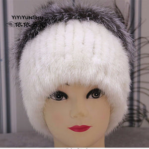 Real Fox fur   Knitted Mink Fur Hats For Women Fashion Trendy Winter Warm  Hats Beanies f28cdf4bf39