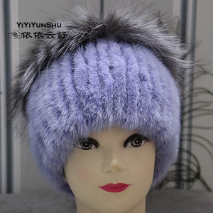 Real Knitted Mink Fur   Fox fur Hats For Women Fashion Trendy Winter Warm  Hats Beanies acb3a4b06dc