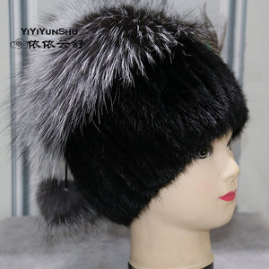 Real Mink Fur Hats For Women Trendy Brand Winter Genuine Fox Fur Beanies Pompom Hat Warm Thick Fur Knitted Hats