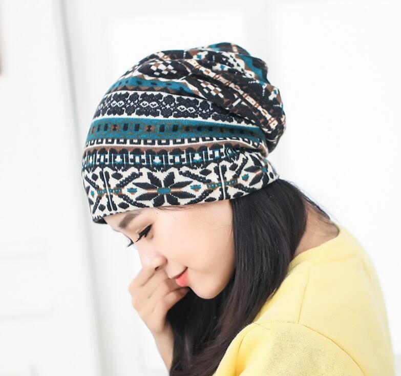 Women New Beautiful Cashmere Beanies Cotton Winter Warm Hat Flowers Color Thick Female Skullies Embroidered Women's Hats