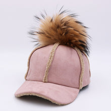Load image into Gallery viewer, 2017 New autumn winter baseball cap artificial deerskin lamb hair hat with real raccoon ball fur pom pom for women H129