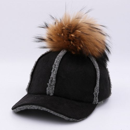 2017 New autumn winter baseball cap artificial deerskin lamb hair hat with real raccoon ball fur pom pom for women H129