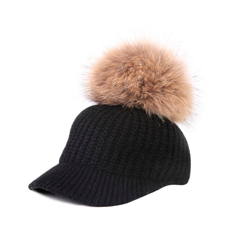 2020 New Raccoon Hair Ball Curling Hat Hat Knitted Baseball Cap Ladies Cap Wholesale Hot Women's Wo Hat