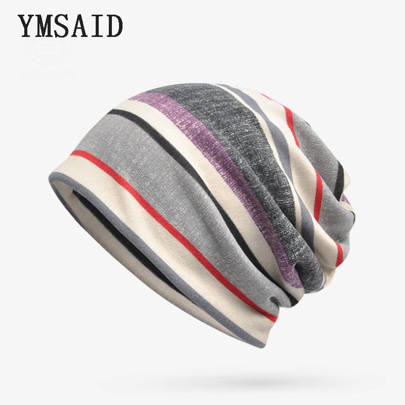 18e7dc4db2d Autumn Turban Hats Women Beanie Stripes Men Skullies Beanies Hedging ...