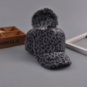 New Leopard Fur Ball Baseball Cap For Women Winter Autumn Fur Gorras Dad Hat Warm Snapback Caps