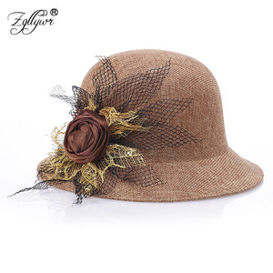 76bf801e273 Fedoras Hat for Women Ladies Elegant Floral Wo Felt Bowler Autu Winter  Bucket Caps with Belts Solid Color Red Black