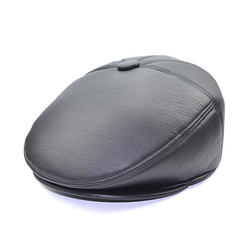 Vintage PU Leather Black Khaki Beret For Men Hat Visors Newsboy Cap For Spring Summer Autu Winter