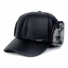 Load image into Gallery viewer, Winter Leather Visor Windproof Man Berets Senior Men Winter Autumn Black Brown Ear Protection Warm Hats for Male