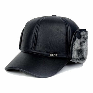 Winter Leather Visor Windproof Man Berets Senior Men Winter Autumn Black Brown Ear Protection Warm Hats for Male