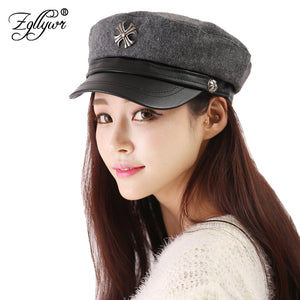 Women Leather Military Hat Cap Female Baseball Flat Beret Cap Octagon Autu Winter But Black Hat Gorras Casquette