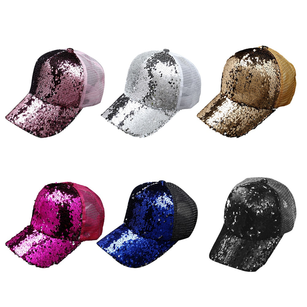baseball Hip Hop cap Sequins Fashion Adjustable Women Summer Hat Female Adult Girls cap Bone Hat snapback men caps Sun Cap Mesh