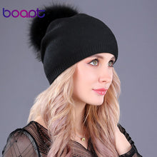 Load image into Gallery viewer, [boapt] Natural Raccoon Fur Pompon Hat Thick Winter For Women Cap Beanie Hats Knitted Cashmere Wo Caps Female skullies beanies