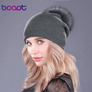 [boapt] Natural Raccoon Fur Pompon Hat Thick Winter For Women Cap Beanie Hats Knitted Cashmere Wo Caps Female skullies beanies
