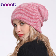 Load image into Gallery viewer, [boapt] double-deck soft rabbit knitting thick bonnet warm caps solid winter hats for women's hat skullies beanies female cap