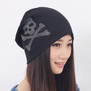 cheap promotion spring summer autumn winter women girl beauty beanies clear rhinestone star Pentacle luxury Skullies woman hats