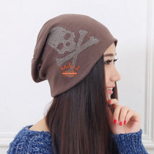 Load image into Gallery viewer, cheap promotion spring summer autumn winter women girl beauty beanies clear rhinestone star Pentacle luxury Skullies woman hats