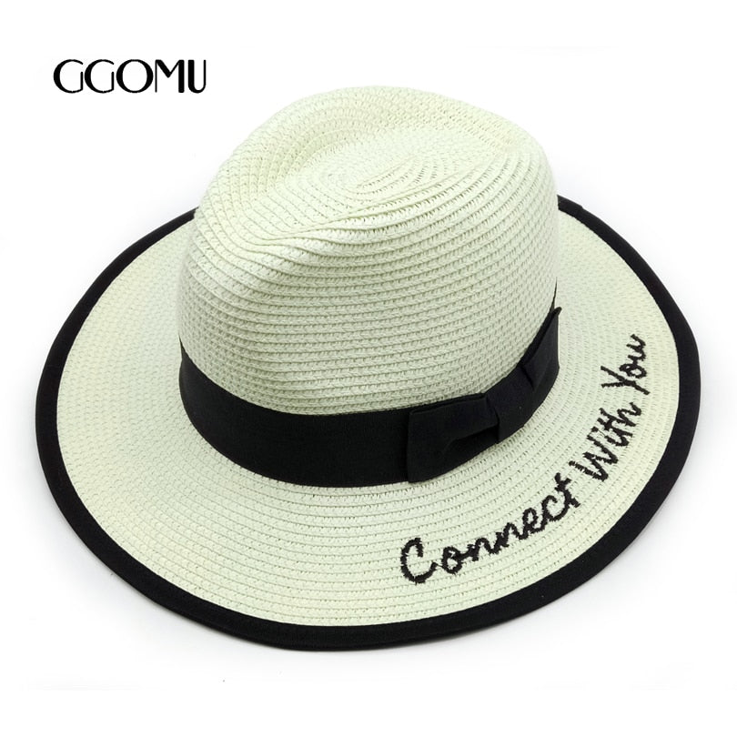224d4d1a7ff dropshipping Fashion Summer bow Sun Hats For Women letter Straw Hats white  Beach Caps Trilby with