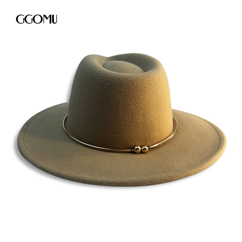99167f6b dropshipping GGOMU Fashion wo fedora hat for women men solid color winter  warm hats Retro Panama hats Black caps