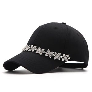 Baseball Cap Embellish Pearl Pendant Women Cap Black Men Dad Hat Casual Shopping Summer Sunhat Cot Adjustable Bones Cap