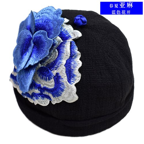 embroidery beanie Solid Color Linen Cotton Short Beanie Strap Back Casual Cap Soft Hat Trendy Winter Warm Soft Beanie Cable