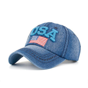 fashion embroidered USA flag snapback hats denim baseball hat cap for men women boy girls Women's Cap whit Rhinestone#LREW