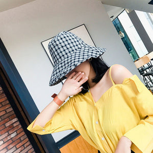fisherman's lady hat spring summer sun beach cap cot grid round girls travel decoration hats head wear accessories