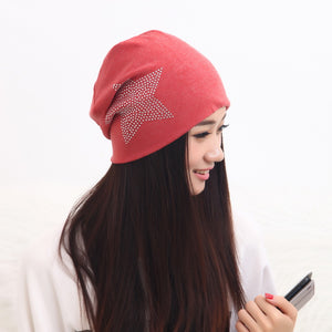 girl beauty beanie designer customized novelty winter hats for women bling crystal pattern casual skullies hat woman brand gorro