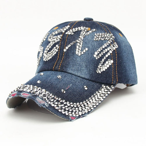 hot sale summer sexy bling rhinestones jeans baseball hat for women and men unisex sun casquette cap fashion snapback hat Bone