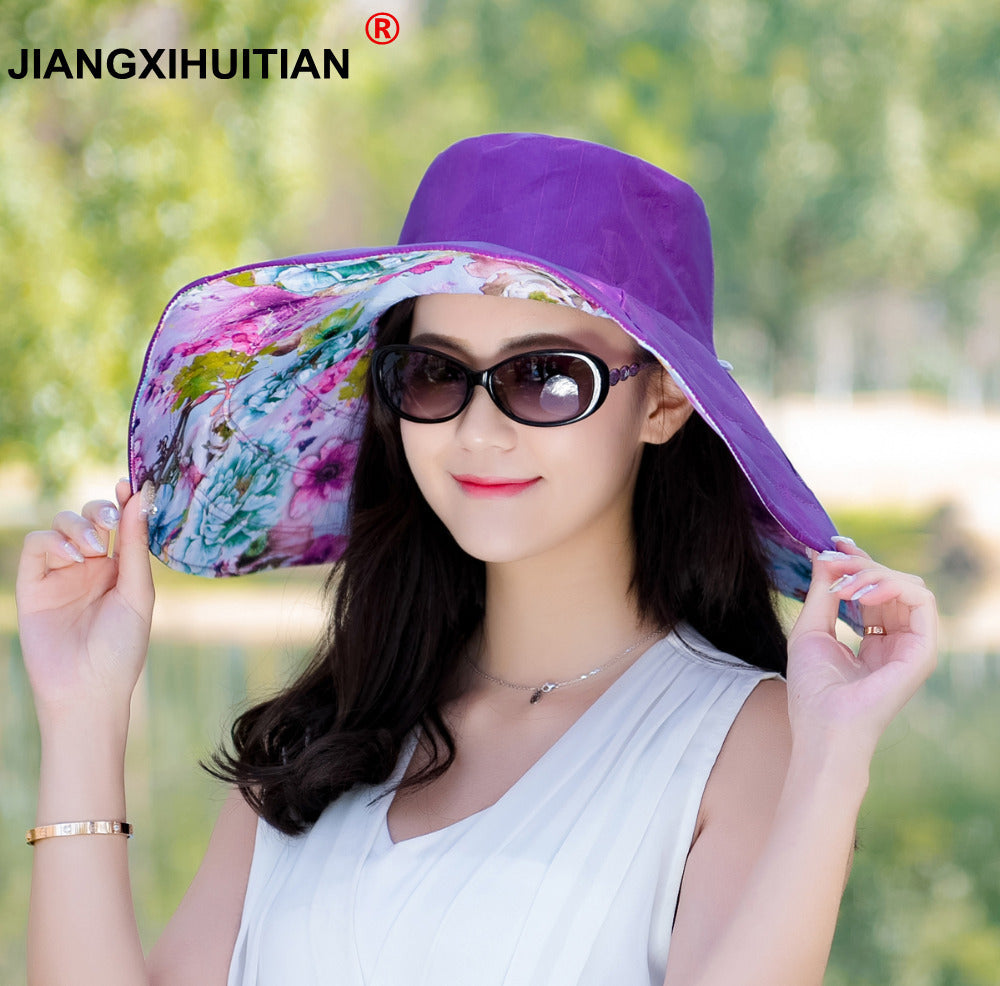 Brands 2020 summer new Packable Extra Large Brim Floppy Sun Hat Reversible UPF 50+ Beach Sun Bucket Hat