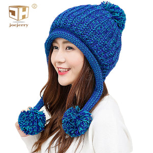 Bomber Hat Women Trapper Hat With Ear Flap Pompon  Knit Cap Russian Winter Hat Ushanka Snow Beanie For Ladies 2018