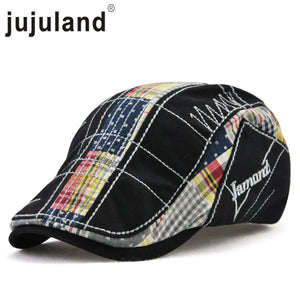 2020 New Casual Newsboy Caps Irregular Embroidery Beret Plaid Stitching Outdoor Hat  Men Women's Cap