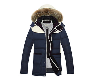khaki/Blue Casual Hooded Men's Winter Jackets Thickening White Duck Down Jackect Men Zipper Design Windproof Parka Warm FYY092